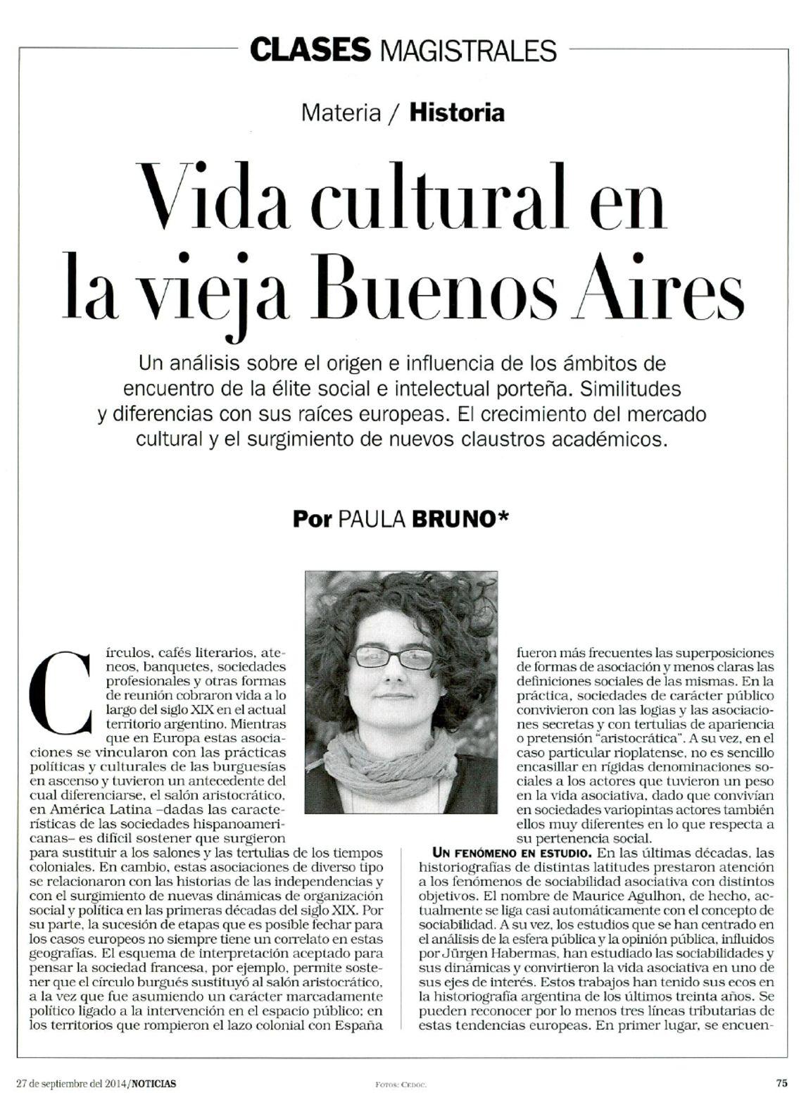 Paula Bruno en Revista Noticias