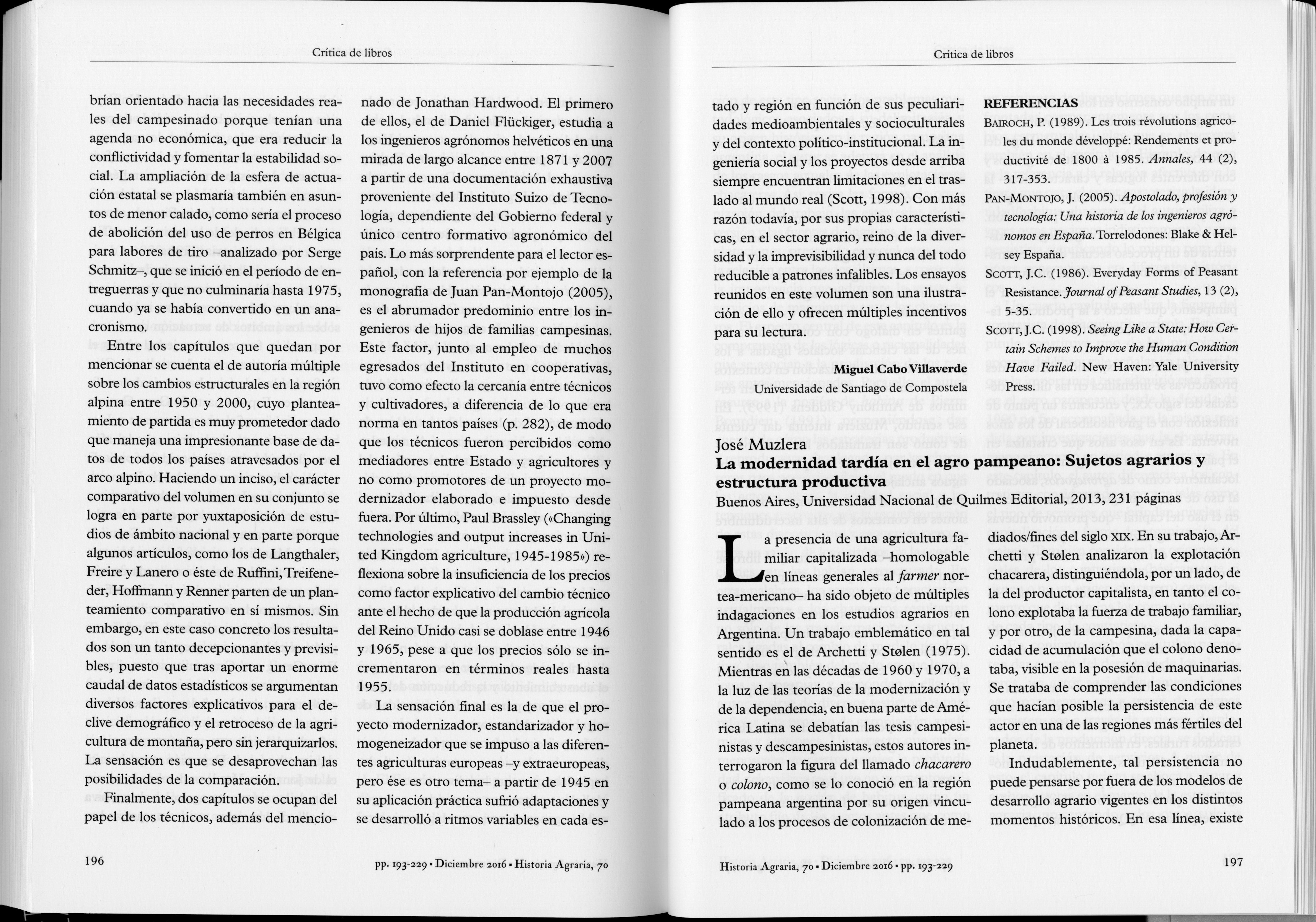 Reseña de La modernidad tardía en el agro pampeano